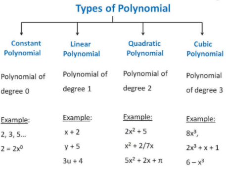 Types of polynomials on the basis of the number of degrees