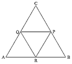 Triangle, P, Q and R are the mid points of sides BC, CA and AB