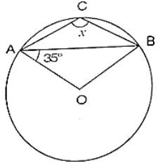 O is the centre of the circle, find the value of x