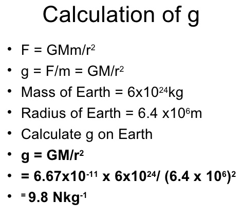 value of acceleration due to gravity