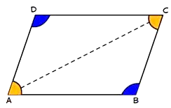 In a parallelogram, opposite angles are equal.