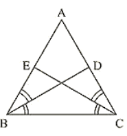 ΔABC is isosceles with AB = AC and BD and CE