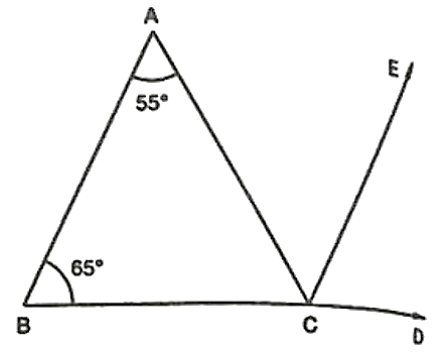 Side BC of ΔABC has been produced to D and CE ∥ BA