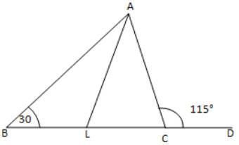The side BC of ∆ABC is produced to a point D.