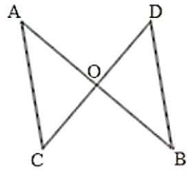 Line segments AB and CD intersect at O