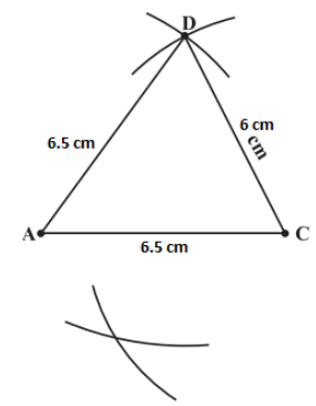 Draw an arc keeping C as centre and radius 5.5 cm so that it intersects the other arc.