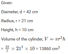 Mensuration III (Surface Area and Volume of a Right Circular Cylinder) Exercise 22.2
