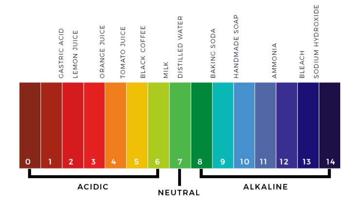 pH scale showing different colors