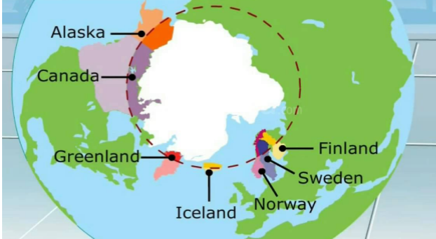 The polar region on the earth
