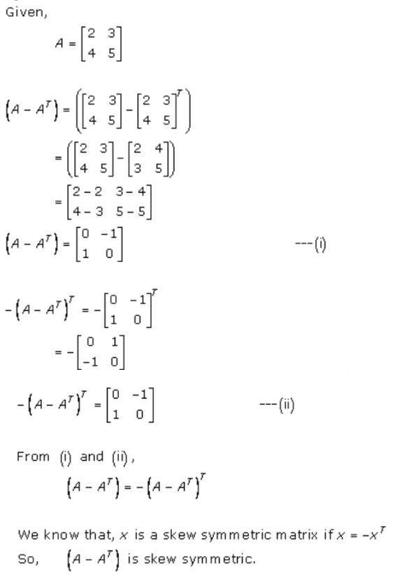Algebra of Matrices Ex 5.5 Q1