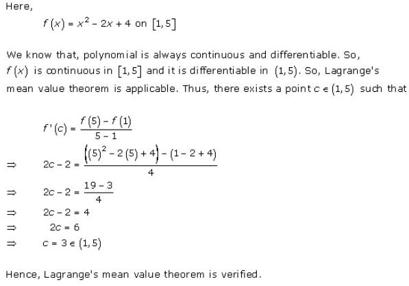 Mean Value Theorems Ex 15.2 Q1(vi)