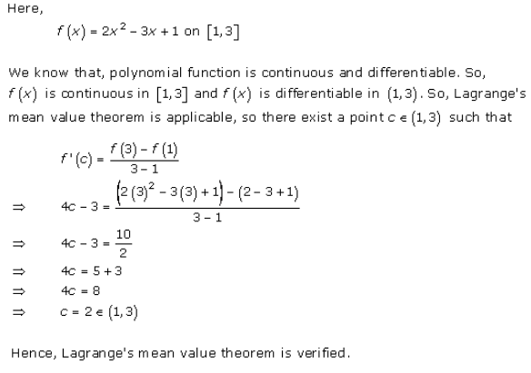 Mean Value Theorems Ex 15.2 Q1(v)