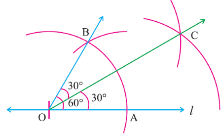 Construction of 30° angle