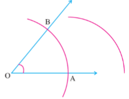 Arc of the radius of more than half of AB.