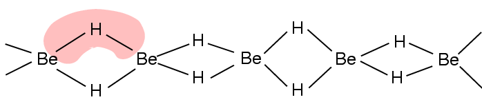 BeH2 is  covalent compound having polymeric structures in which H – atoms between beryllium atoms are held together by three  centre – two electron (3C - 2e) bonds