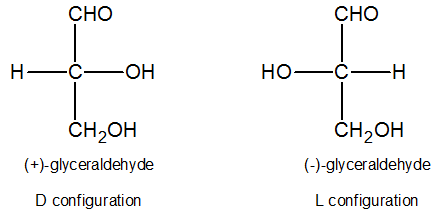 D and L configuration of glyceraldehyde