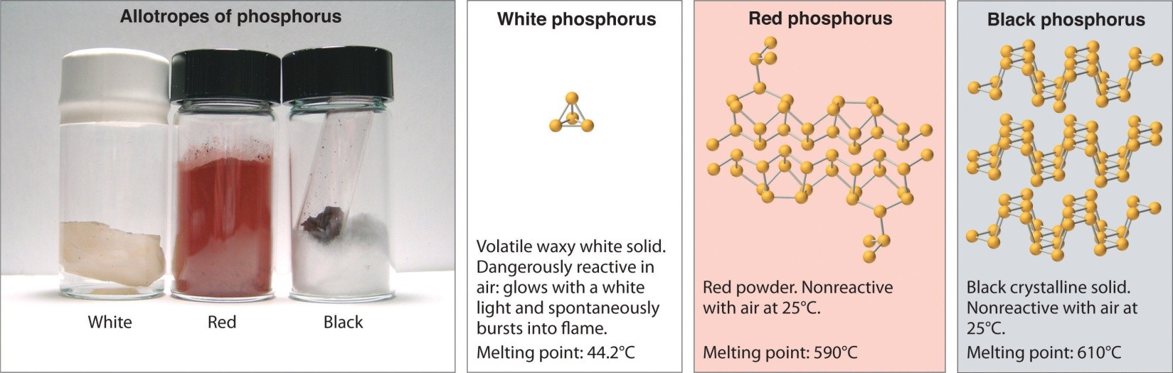 Allotropes of Phosphorus with physical properties
